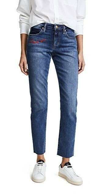 JOE'S JEANS THE SMITH MID RISE STRAIGHT EMBROIDERED ANKLE JEANS IN CLENNA 30 BN