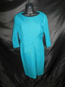 Adrianna-Papell-Size-8-Teal-Blue-Dress-3-4-Sleeve-Knee-Stitched-Accents-Knit
