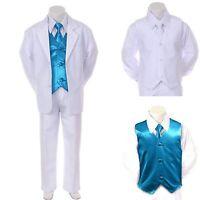 Boy Teen Formal Wedding Party Prom White Suit Tuxedo + Turquoise Vest Tie 8-20