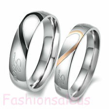 1 Pair Stainless Steel Real Love Couple Wedding Band Love Heart Rings Size 4-16