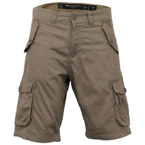 Da Uomo Cargo Combat Pantaloncini Crosshatch al ginocchio Thorley Casual Estate Moda