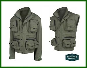 Fishing Vest and Jacket Ron Thompson Ontario removeable sleeves Windproof and Waterproof All Sizes