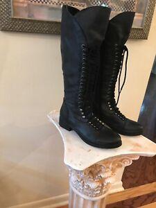 61140f9cd1a Details about GUESS SENSATION Women Sz 8 Steampunk Riding Black Leather  Lace Boots Military