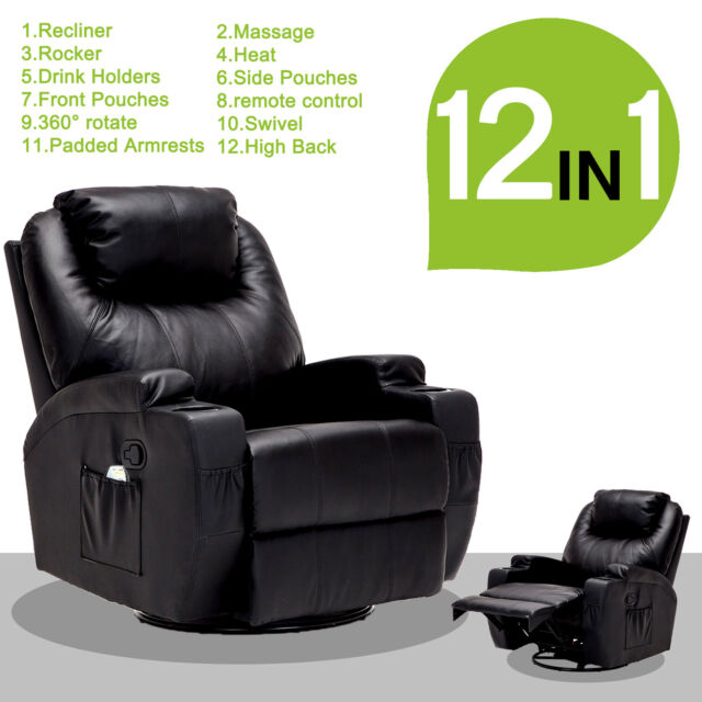 Mage Recliner Sofa Leather Vibrating Heated Chair Lounge With Rc Black