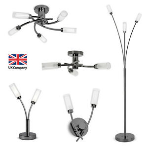 Matching black chrome led ceiling wall lights touch table floor image is loading matching black chrome led ceiling wall lights touch aloadofball Image collections