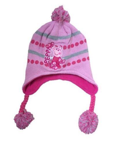 OFFICIAL PEPPA PIG Gestrickt Beanie-mütze Mit Bommel Rosa Creme Mädchen Winter