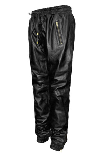 Ladies Black Real Soft Napa Leather Trousers Sweat Track Pant Zip Jogging Bottom