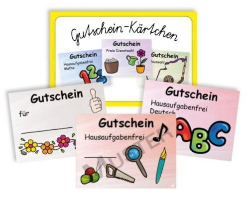 Gutschein Kärtchen Set Karten Schule Lehrer Kinder Kindergarten Verein Bon