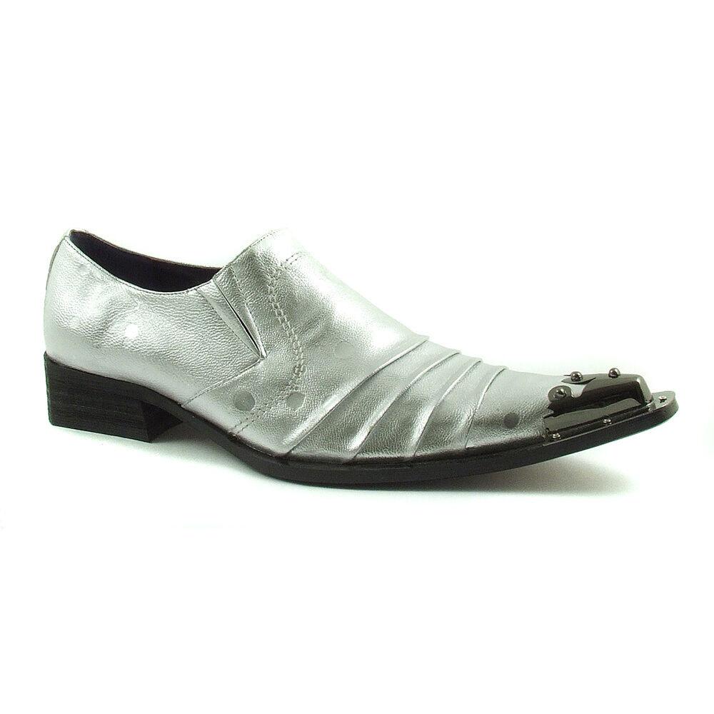 Gucinari Adillo Silver Leather Mens Steel Toe Cap Slip On