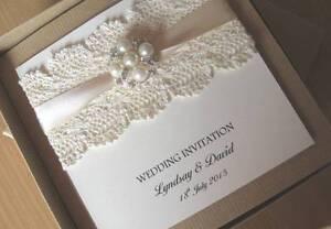 Presentation Box Victorian Lace Vintage Themed Wedding Invitation Horseshoe