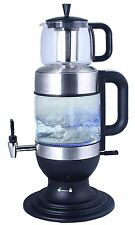 GOLDA INC. 2.5 Liters Glass Samovar, Tea Maker, with Boil-Dry Protection, Black
