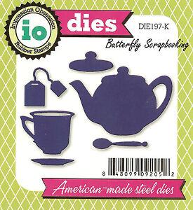 Tea Teapot Set American made Steel Dies by Impression Obsession DIE197-K New