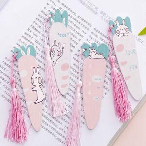 Cute-Carrot-Rabbit-Wood-Ruler-Cartoon-Tassels-Bookmark-Creative-Straight-Rule