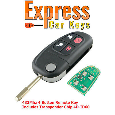 Blade For Jaguar X type S type XJ XJR 4 Buttons Remote Entry Key 433MHz Chip