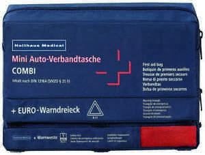 Verbandskästen Erste Hilfe- & Notfallausrüstungen Verbandtasche Auto Mini 3 In 1 Inhalt Nach Din 13164 Blau 62220 Inkl Weste Gelb