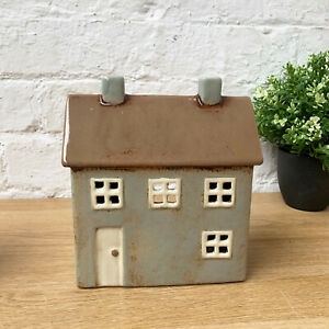 Lovely Freestanding Ceramic glazed tea light cottage house Ornament Gift Present