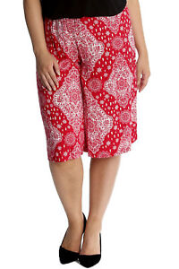 43c4c26d338 New Womens Plus Size Culottes Ladies Moroccan Tile Print Shorts Knee ...