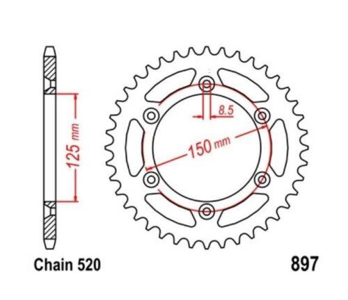 Rear sprock KR Kettenrad 45 Z Teilung 520 KTM SX 620 LC4 94-99 NEU ..