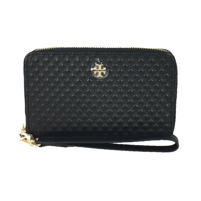 5a0132bb7f75f Tory Burch Marion Embossed Black Leather Smartphone Wallet Wristlet ...