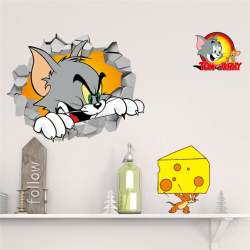 ZOOYOO® Tom And Jerry Cartoon Smashed Wall Decal Poster 3D Art Sticker Cat Mouse