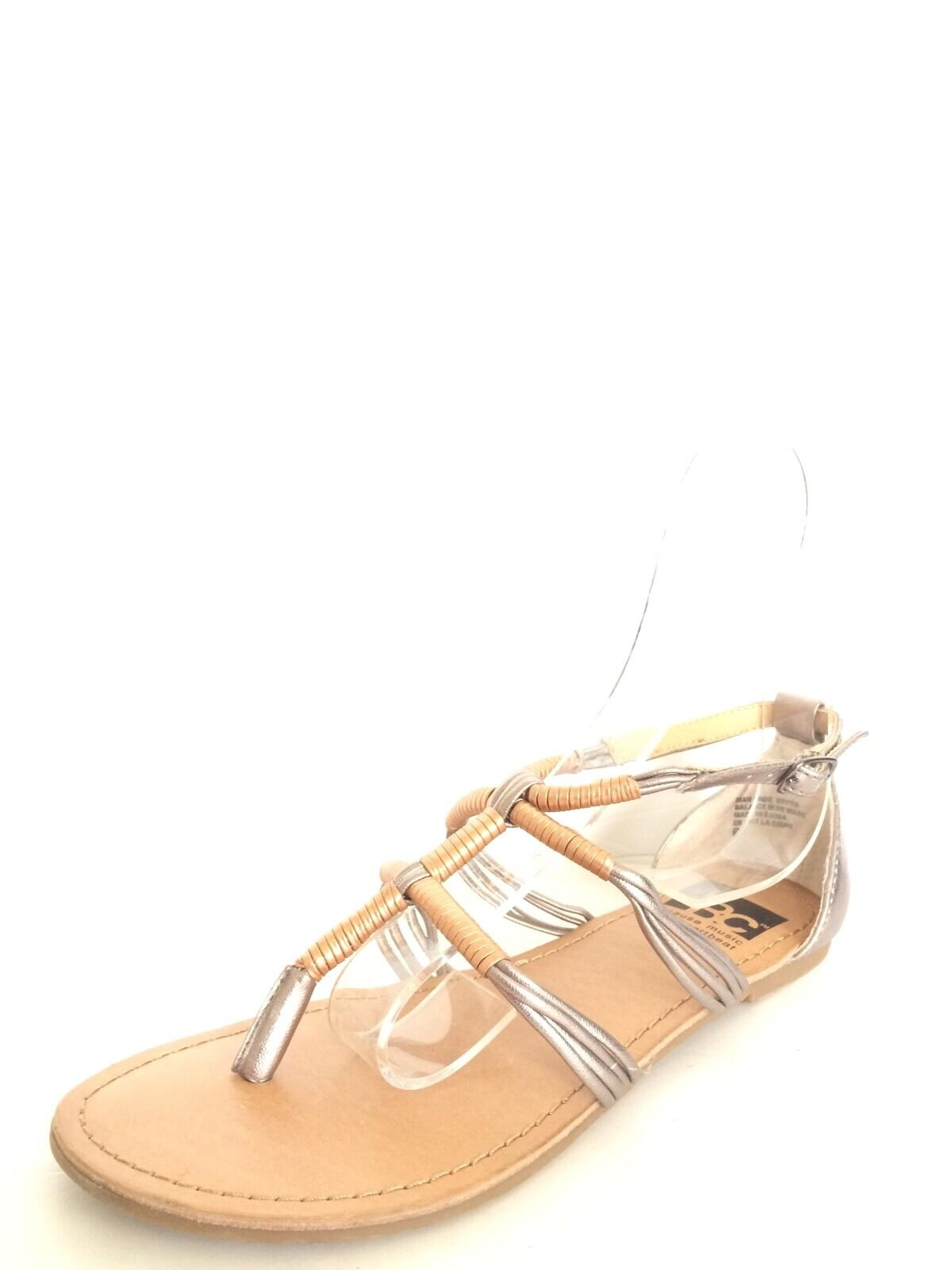 BC Footwear Womens Gold Braided Sandals Thong Flat Heel Comfort Womens Footwear Size 6 M* fd0c4a