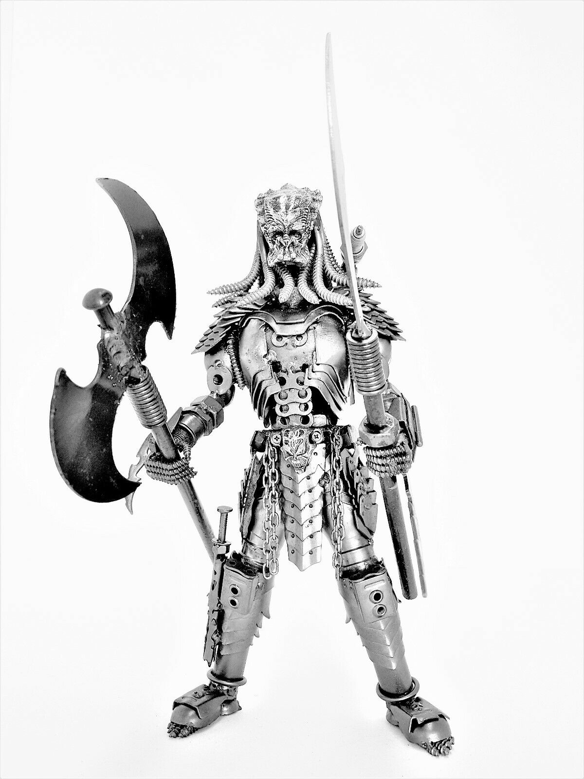 Protator 40cm With Staff and Battle Axe Figure Metal Art Productions Sculpture