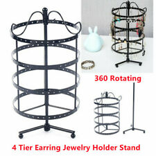 4 Tier 360 Rotating Earring Holder Stand Wrought Iron Organizer Display Rack New