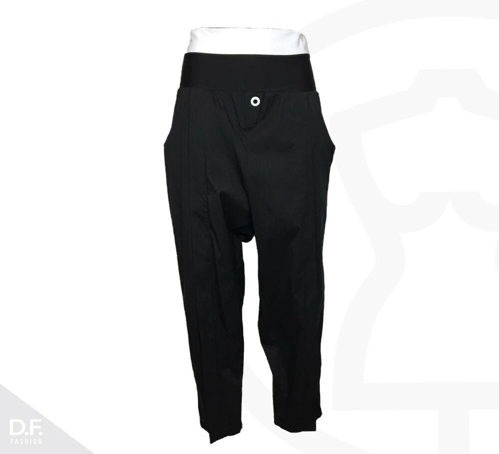 Art Point Pantalon Femmes Carottes Superposé Noir Coton Mix Uni L Made In Ue