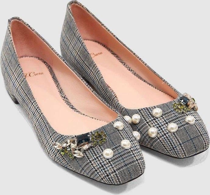 Nouveau J Crew Sally Poppy Ballet perles embelli Plaid Flats chaussures noires 9