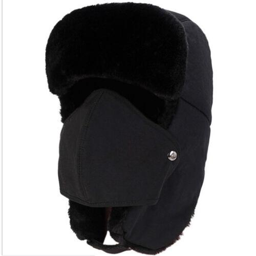 Herren Damen Hut Wintermütze Kosakenmütze Uschanka Ohren Schutz Warm Fellimitat