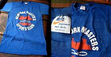 VTG 80s NIKE USA ORANGE SWOOSH THIN SOFT BLUE T-SHIRT NY MASTERS SPORTS CLUB M