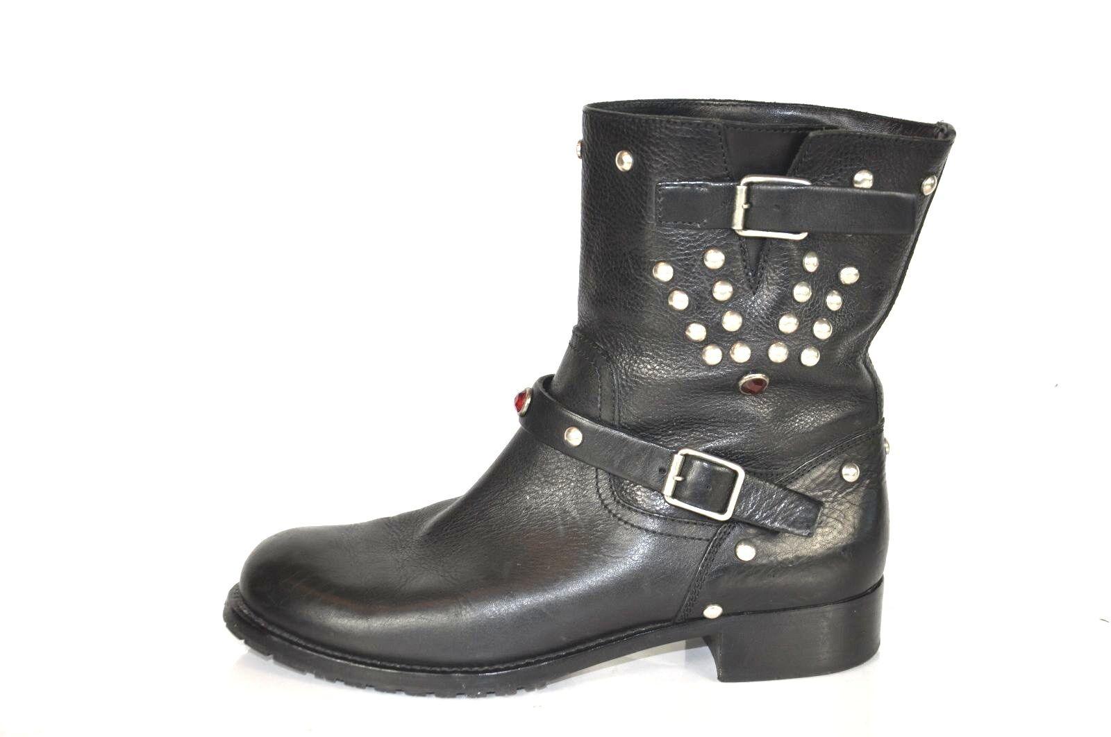 la migliore offerta del negozio online Ralph Lauren nero Leather  Embellished Moto stivali stivali stivali Dimensione 9B  centro commerciale di moda