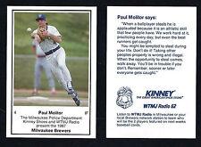 Paul Molitor 1988 Milwaukee Police Kinney Shoes WTMJ Card Brewers Hall of Fame