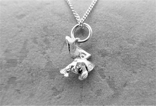 """Sterling Silver (925)  Solid 3D Charm """"Zodiac Pisces"""""""
