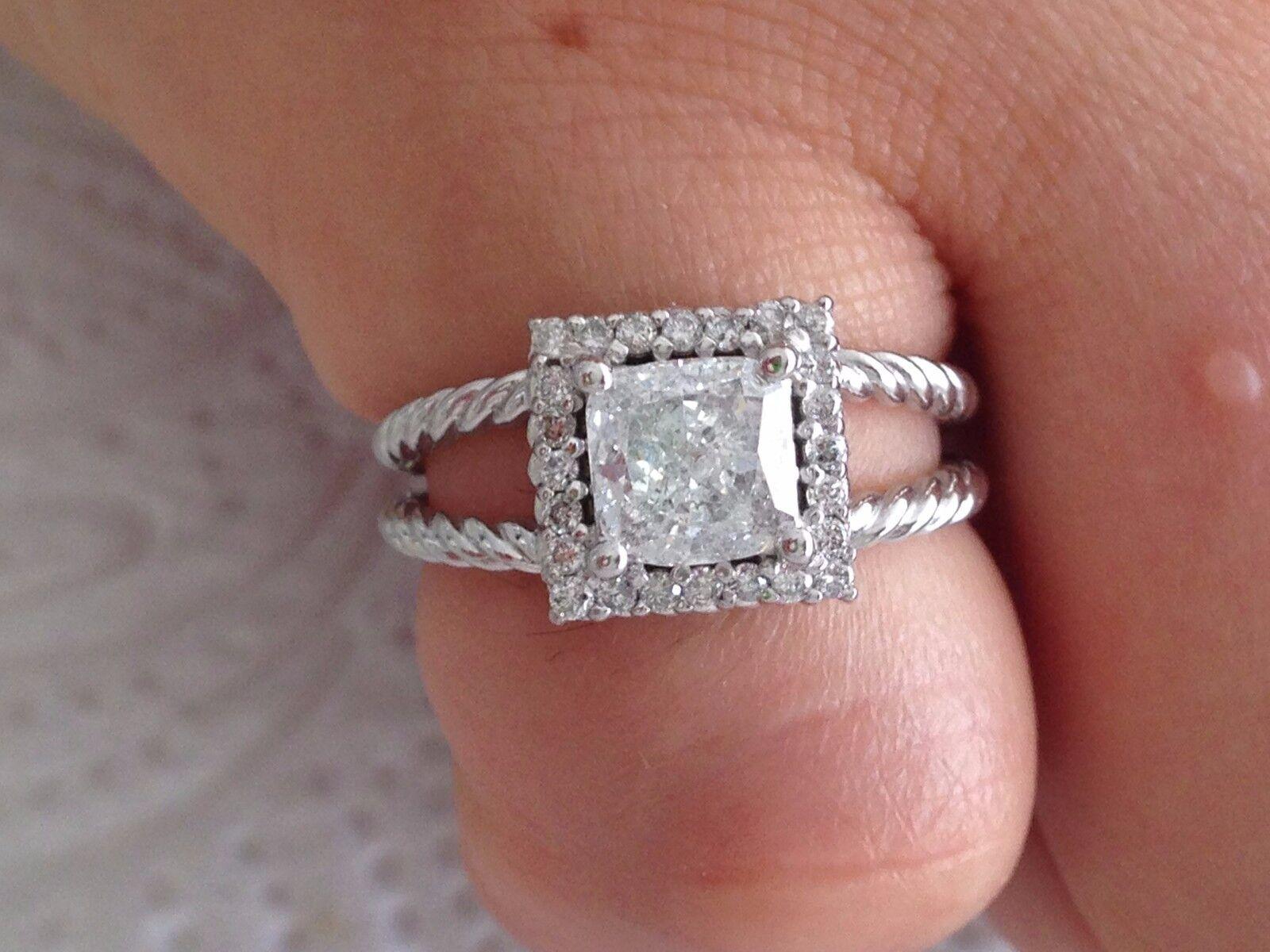 fa8bce606a55d WHITE 14k engagement diamond Designer CUT CUSHION ct 1.35 gold Ring ...