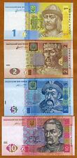 Ukraine - 1, 2, 5 and 10 Hryvnia - set of 4 UNC currency notes