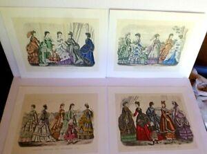 Vintage-McCall-039-s-CENTENNIAL-PORTFOLIO-OF-PRINTS-Godey-039-s-Fashions-1870-Set-of-4