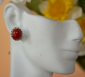 Sterling-Silver-Natural-Red-Coral-Gemstone-Oval-stud-Earrings-Jewelry