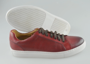 Men's Magnanni 'Bartolo' Maroon Leather Perforated Sneakers Size US 10