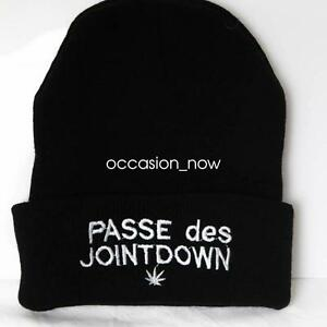 UNISEX-HAT-MENS-WOMANS-KNIT-KNITTED-BEANIE-RETRO-COOL-PASSE-DES-JOINT-DOWN-BLACK