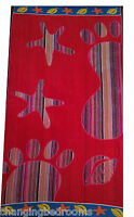 LATEST RED FOOTPRINT JUMBO LARGE BEACH TOWEL BATH SHEET 100% EGYPTIAN COTTON