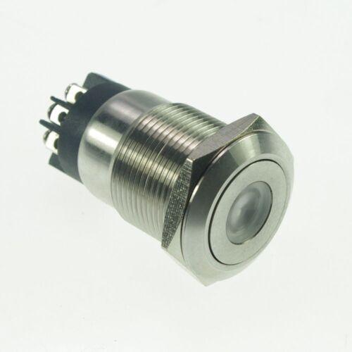 19mm Stainless Steel Dot illuminated Latching Push Button Switch  1NO 1NC Screw