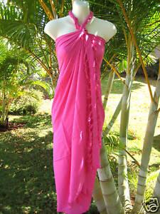 New Hawaii Sarong Pareo White Leaves On Pink  Hawaiian Luau Cruise Wrap Dress