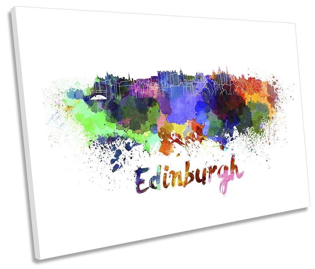 Edinburgh Watercolour Skyline Framed SINGLE CANVAS PRINT Wall Art