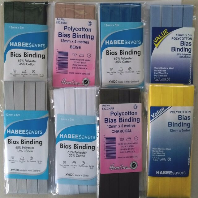 12mm x 5m BLACK AKA Hem Facing Tape Hemline Polycotton Bias Binding