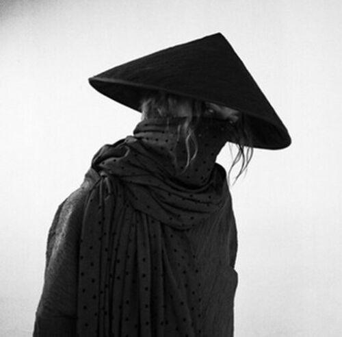 Shootingtoy Handmade Japan Samurai Hat Cosplay Knight Black Bamboo Cap