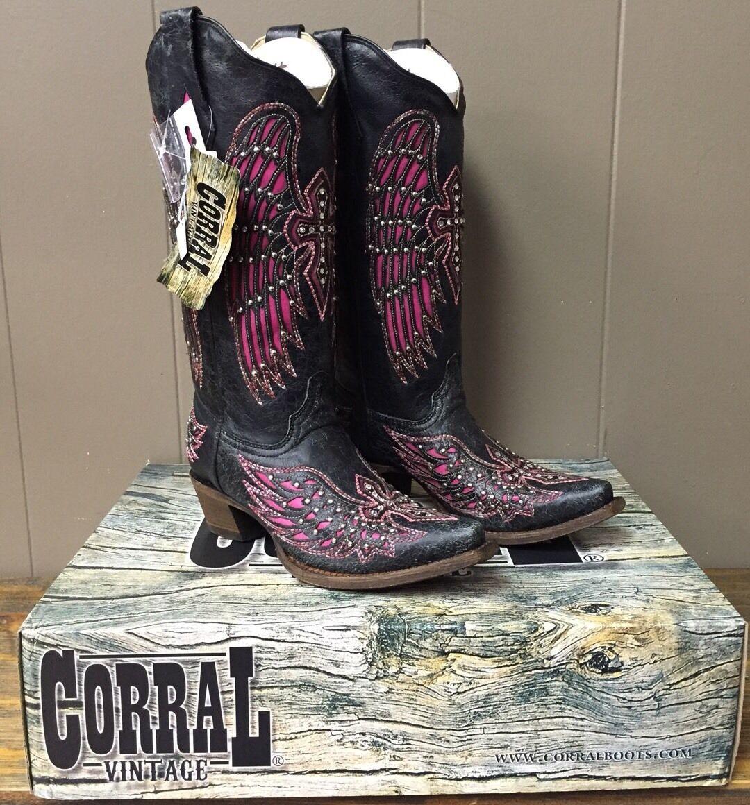 perfezionare Donna  Corral stivali. stivali. stivali. nero-rosa Wing & Cross With Studs, Dimensione 7, A 1049, New   prezzi bassi