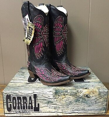 Women's Corral Boots. Black-Pink Wing & Cross With Studs, Size 7, A 1049, New!