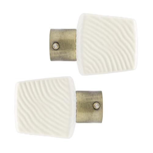 Par De 28mm diámetro Cortina Polo remates Crema Onda-Pulido collares de latón
