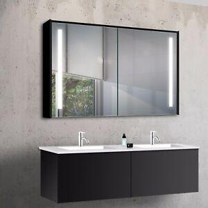 Schwarz Aluminium Led Warm Kalt Weiss Licht Wand Badezimmer Spiegel